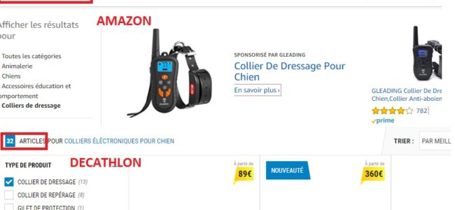comparaison collier dressage amazon et decathlon